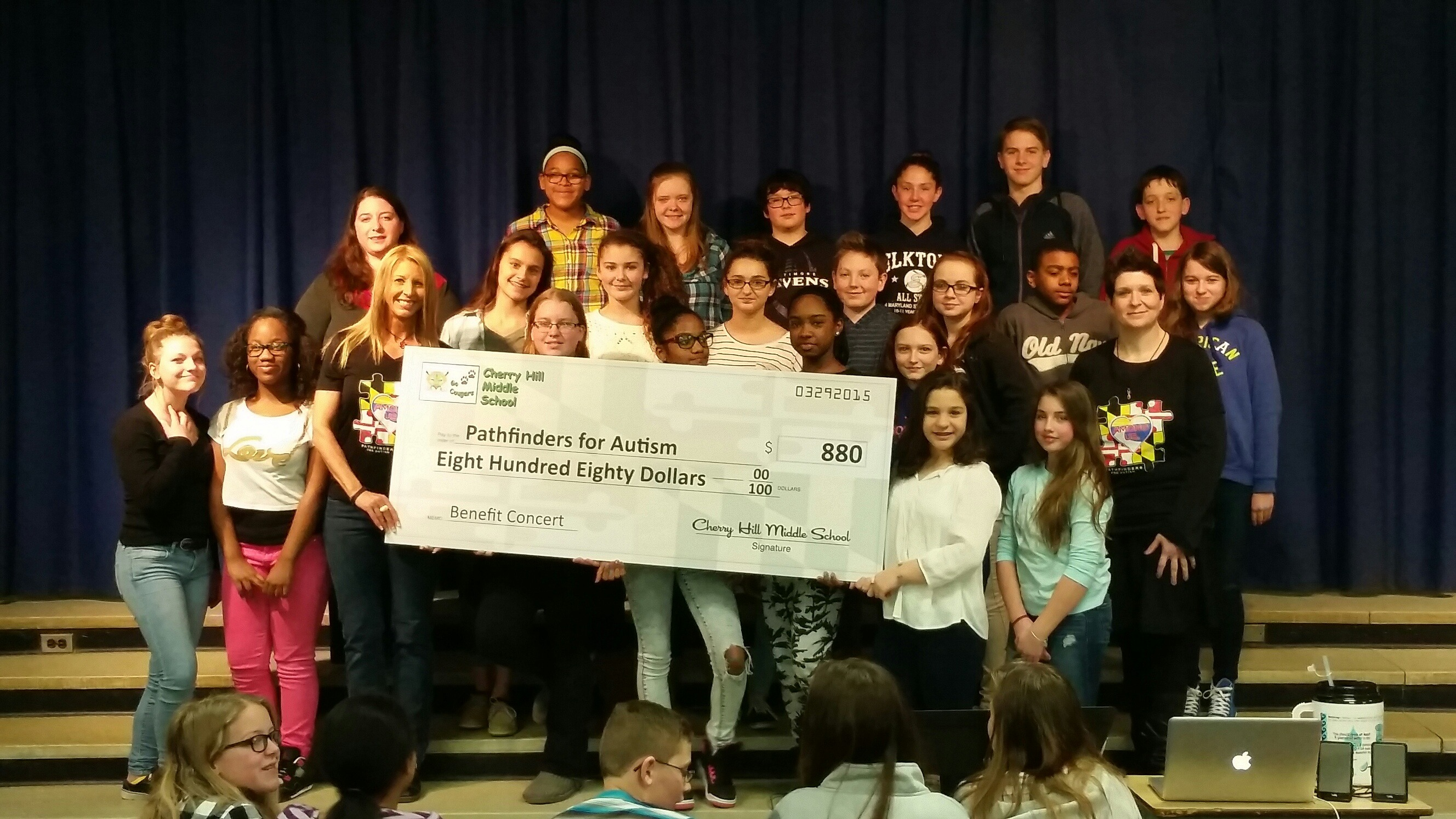 Check presentation with students from Cherry Hill Middle School