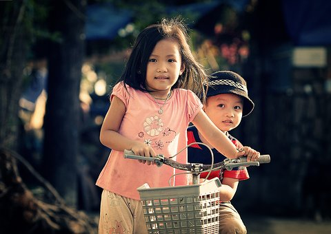 children on bike
